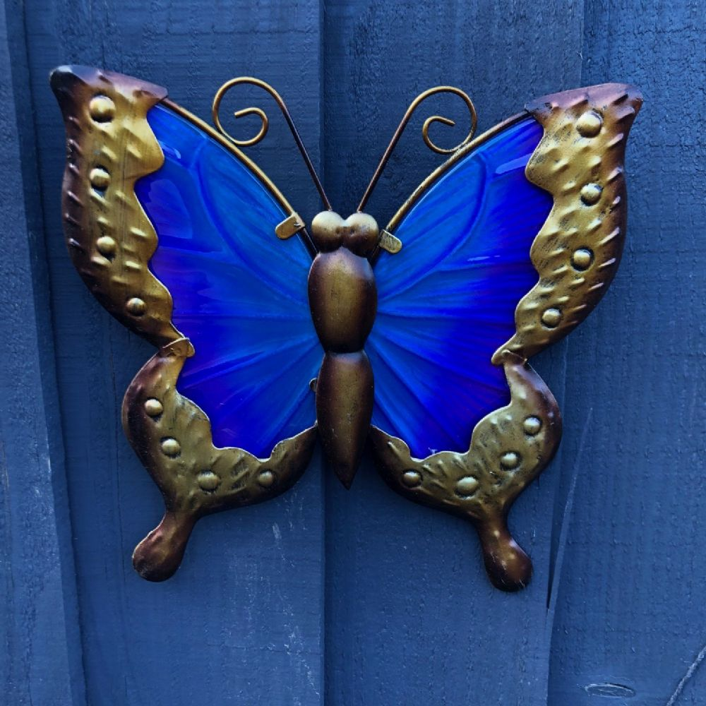 Blue & Purple Butterfly Colourful Hand Painted Glass & Metal Garden Wall Art